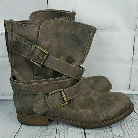 Crown Vintage Distressed Moto Style Boots 8